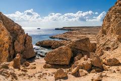 Linha da costa em Ras Mohamed National Park Fotografia de Stock