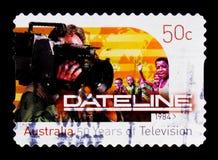 Linha da data, repórter com câmera, serie da televisão, cerca de 2006 Imagens de Stock Royalty Free