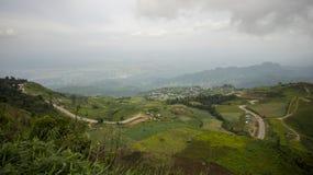 Linha da estrada de montanha verde foto de stock