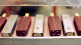Linha da fabricação do gelado de chocolate Fábrica do alimento Alimento na correia transportadora filme