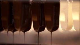 Linha da fabricação do gelado de chocolate Processo de manufatura do gelado Linha de produção alimentar Indústria alimentar Sobre video estoque