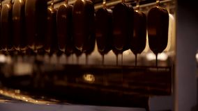 Linha da fabricação do gelado de chocolate Processo de manufatura do gelado Linha de produção alimentar Indústria alimentar Sobre filme