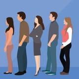 Linha da fila da mulher do homem do grupo de pessoas que está de espera ilustração do vetor