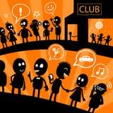 Linha da ilustração no clube noturno Ilustração Stock