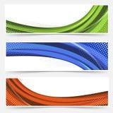 A linha da onda pontilhou as bandeiras da Web ajustadas Foto de Stock Royalty Free