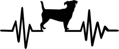 Linha da pulsação do coração do cão com jaque Russel ilustração royalty free
