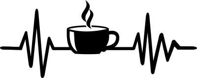 Linha da pulsação do coração do café com copo de café ilustração stock