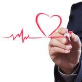 Linha da respiração do coração do desenho do homem de negócios Imagem de Stock Royalty Free