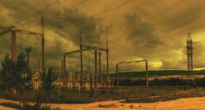 Linha da transmissão 1 da eletricidade Fotografia de Stock
