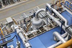 A linha da tubulação no produto aren do central química Fotografia de Stock Royalty Free