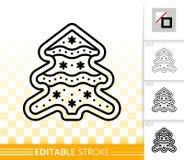 Linha de árvore ícone do Natal da cookie do pão-de-espécie do vetor ilustração royalty free