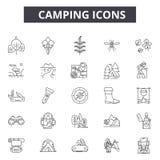 Linha de acampamento ícones para a Web e o projeto móvel Sinais editáveis do curso Ilustrações de acampamento do conceito do esbo ilustração stock