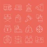 Linha de acampamento grupo do ícone Imagem de Stock Royalty Free