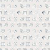 Linha de acampamento grupo do teste padrão do ícone Fotografia de Stock Royalty Free
