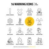 16 linha de advert?ncia ?cones ilustração stock