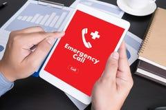 Linha de apoio ao cliente acidental urgente do serviço do centro de atendimento da emergência médica Imagem de Stock Royalty Free