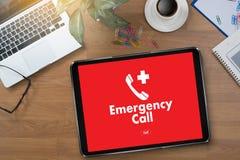 Linha de apoio ao cliente acidental urgente do serviço do centro de atendimento da emergência médica Imagem de Stock