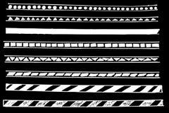 Linha de beira - ponto, triângulo e outro, no fundo preto Imagens de Stock