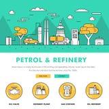 Linha de bloco fina ícones da cor e comp(s) lisos da indústria moderna da gasolina Fotografia de Stock