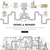 Linha de bloco fina ícones da cor e comp(s) lisos da indústria moderna da gasolina Foto de Stock Royalty Free