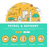 Linha de bloco fina ícones da cor e comp(s) lisos da indústria moderna da gasolina Fotografia de Stock Royalty Free