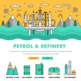 Linha de bloco fina ícones da cor e comp(s) lisos da indústria moderna da gasolina Imagem de Stock
