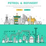 Linha de bloco fina ícones da cor e comp(s) lisos da indústria moderna da gasolina Fotos de Stock Royalty Free