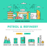 Linha de bloco fina ícones da cor e comp(s) lisos da indústria moderna da gasolina Imagens de Stock Royalty Free