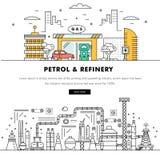 Linha de bloco fina ícones da cor e comp(s) lisos da indústria moderna da gasolina Imagens de Stock