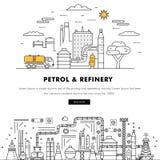 Linha de bloco fina ícones da cor e comp(s) lisos da indústria moderna da gasolina Fotos de Stock