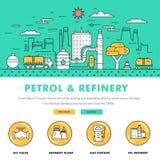 Linha de bloco fina ícones da cor e comp(s) lisos da indústria moderna da gasolina Imagem de Stock Royalty Free