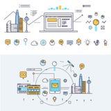 Linha de bloco fina ícones e composição lisos da indústria moderna Imagem de Stock Royalty Free