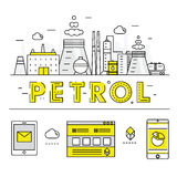 Linha de bloco fina ícones e compositio lisos da indústria moderna da gasolina Fotografia de Stock