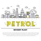 Linha de bloco fina ícones e compositio lisos da indústria moderna da gasolina Imagens de Stock Royalty Free