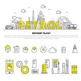 Linha de bloco fina ícones e compositio lisos da indústria moderna da gasolina Imagem de Stock Royalty Free