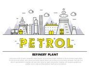 Linha de bloco fina ícones e compositio lisos da indústria moderna da gasolina Fotos de Stock Royalty Free