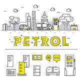 Linha de bloco fina ícones e compositio lisos da indústria moderna da gasolina Imagens de Stock