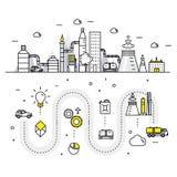 Linha de bloco fina ícones e compositio lisos da indústria moderna da gasolina Foto de Stock