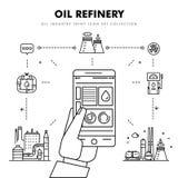 Linha de bloco fina ícones lisos da indústria moderna da gasolina Imagens de Stock Royalty Free
