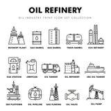 Linha de bloco fina ícones lisos da indústria moderna da gasolina Fotos de Stock Royalty Free