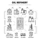 Linha de bloco fina ícones lisos da indústria moderna da gasolina Fotografia de Stock