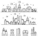 Linha de bloco fina ícones lisos da indústria moderna da gasolina Foto de Stock