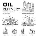 Linha de bloco fina ícones lisos da indústria moderna da gasolina Foto de Stock Royalty Free
