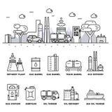 Linha de bloco fina ícones lisos da indústria moderna da gasolina Imagem de Stock Royalty Free