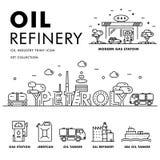 Linha de bloco fina ícones lisos da indústria moderna da gasolina Fotografia de Stock Royalty Free