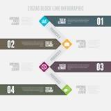 Linha de bloco Infographic do ziguezague Fotos de Stock