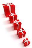 Linha de caixas de presente vermelhas Imagens de Stock