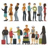 A linha de caráteres dos jovens ao esperar sua volta para a entrevista ou a viagem vector a ilustração ilustração do vetor