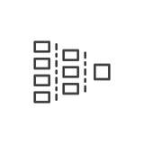Linha de carta ícone de Org, sinal do vetor do esboço, pictograma linear do estilo isolado no branco ilustração stock