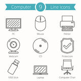 Linha de computador ícones ilustração royalty free